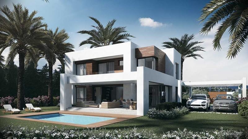 Infografía 3D Villa en Marbella fachada
