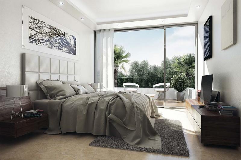 infografia 3D Dormitorio principal de diseño