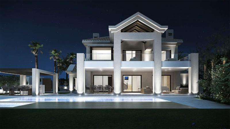 Infografía 3D villa nocturna Marbella