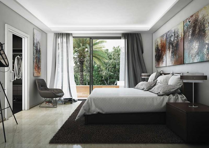 Infografías interiores dormitorio principal diseño