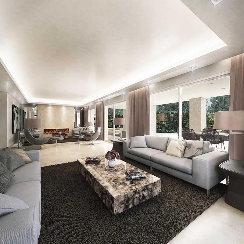 Infografía 3D salón diseño Marbella
