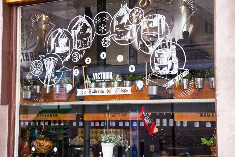 Tematización ventanas con ilustraciones del proceso de cervezas victoria