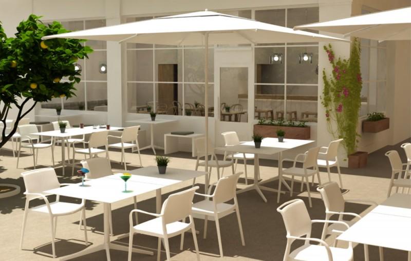 Infografía 3D Cafetería Terraza