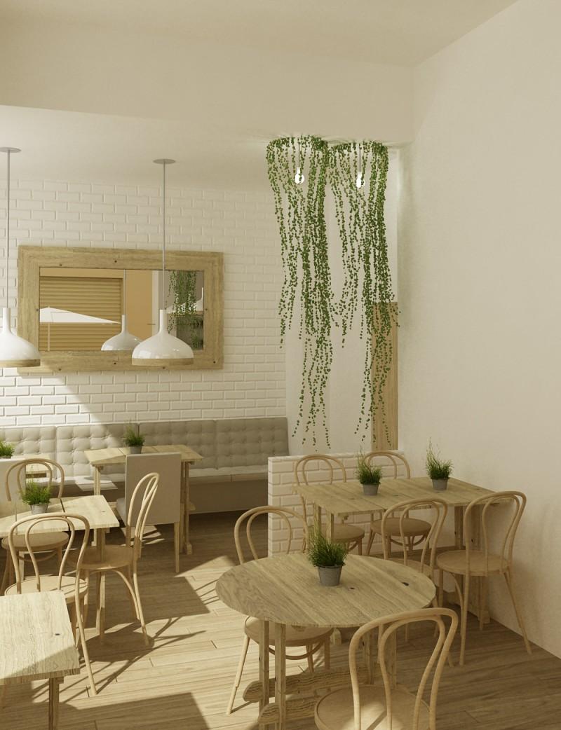 Modelado 3D interior cafetería