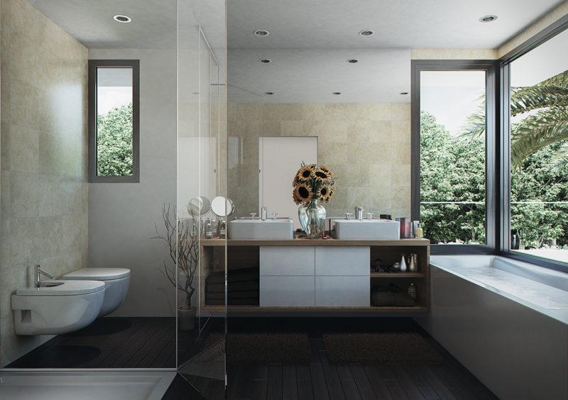 Baño mármol madera y vidrio
