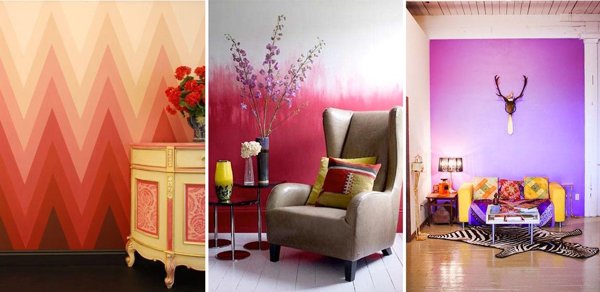 Efecto pintura degradado efecto degrad en dise o interior - Tipos de pintura para pared ...