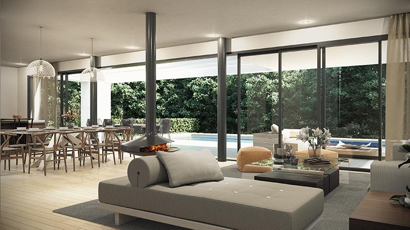 Imagen 3D interior villa contemporanea en Estepona