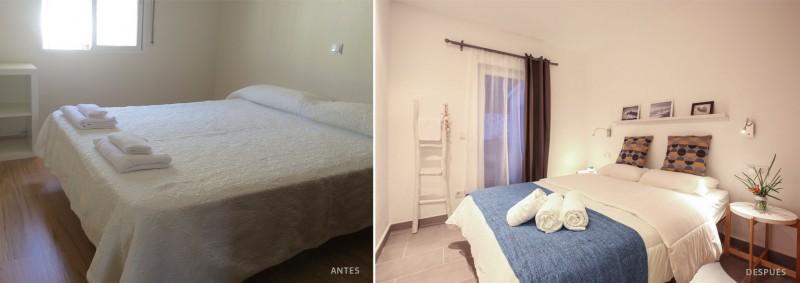 antes y después decoración de interiores habitación