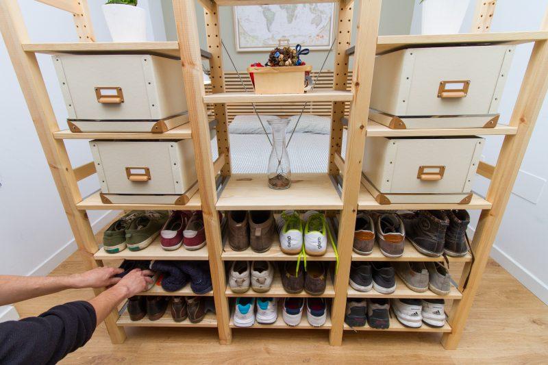 mobiliario vestidor zapatero abierto