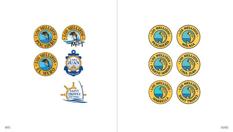 Comparativa logotipos Los Mellizos antes y después