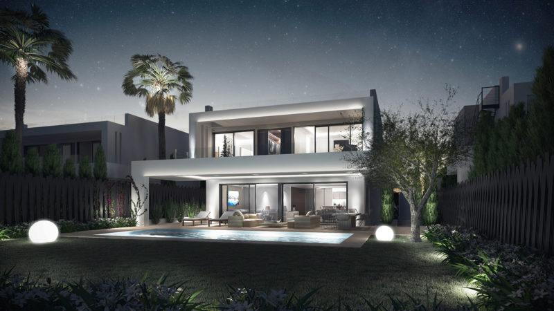 Infografía nocturna villa marbella