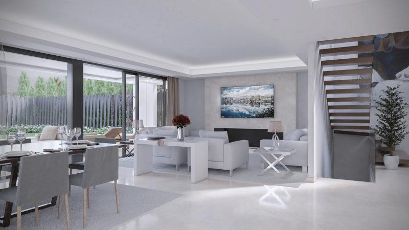 infografia 3d interior villa marbella