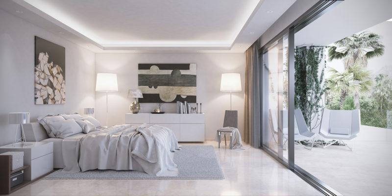Diseño interior dormitorio villa marbella