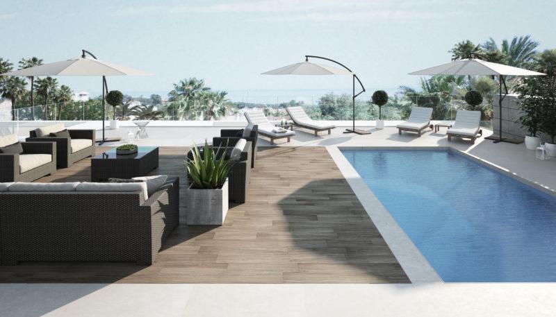 piscina y solarium villa de lujo marbella