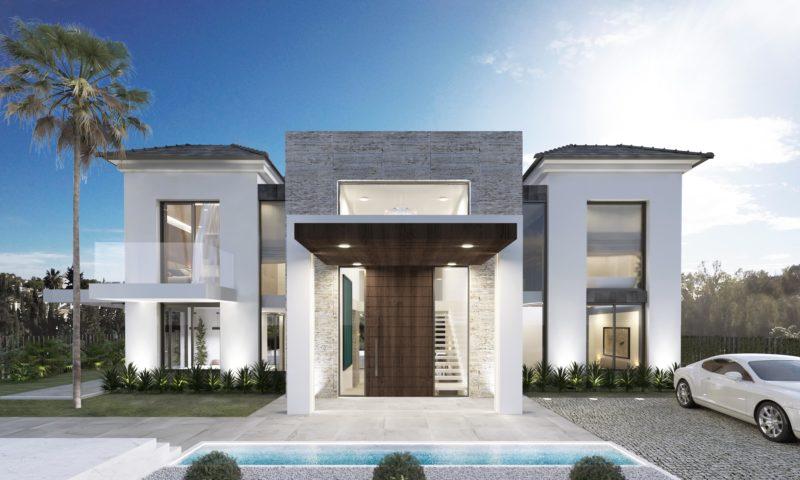 renders 3D Villa Marbella fachada acceso