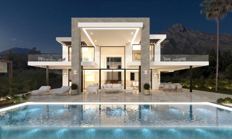 Infografías 3D Villa Nocturna
