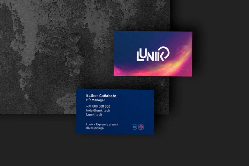 Diseño logo tarjetas de visita Lunik
